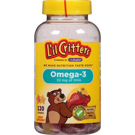 L'il Critters Omega-3 Assorted Fruit 120 шт витамины детские жевательные