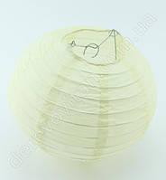 Бумажный подвесной фонарик, кремовый, 30 см