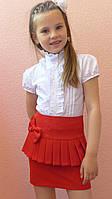 """Школьная юбка, юбка для девочек """"Баска"""" красный, р-ры 28-38"""