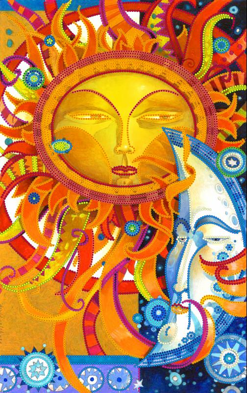 Схема для вишивки бісером POINT ART Сонце і Місяць, розмір 22х35 см
