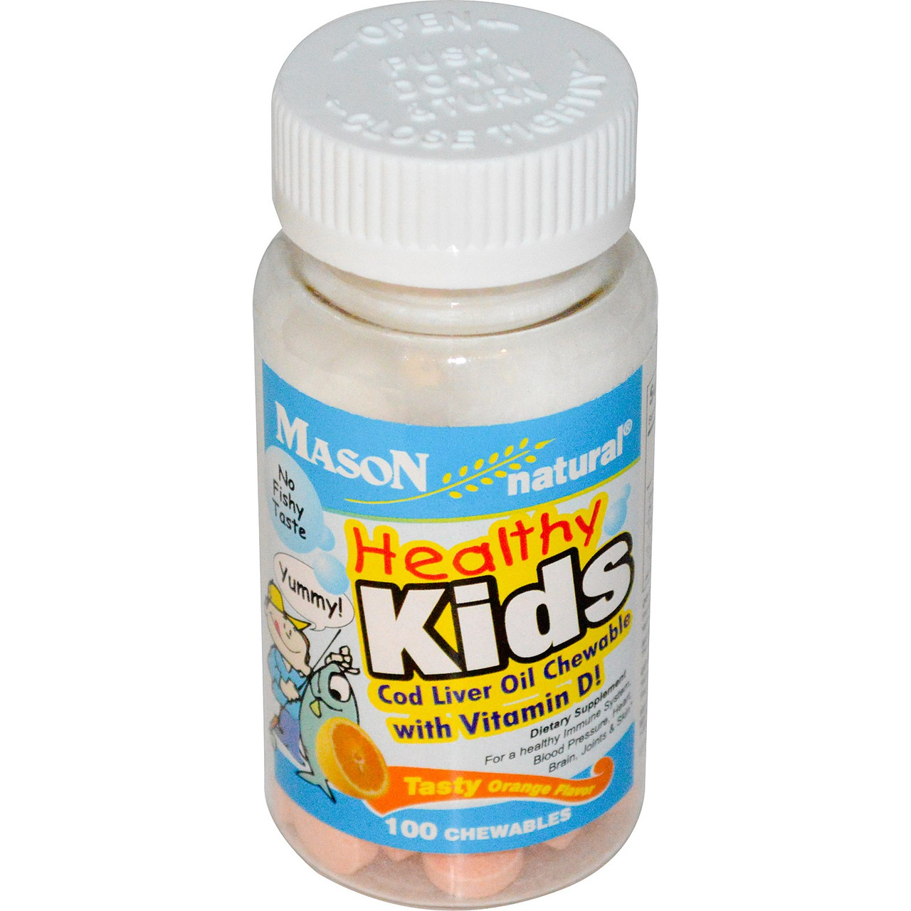 Mason Naturals  Healthy Kids Cod Liver Oil Chewable Витамины детские рыбий жир жевательный + витамины  -100 шт