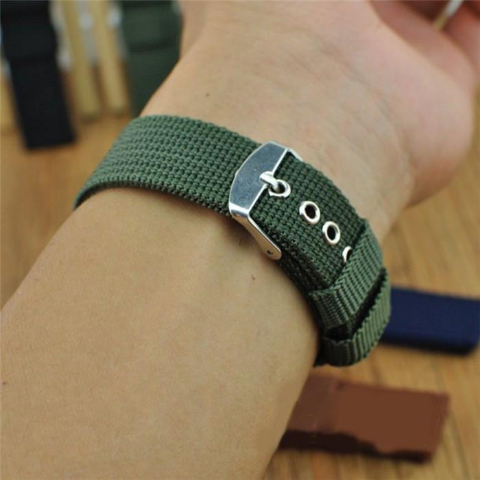 Ремешок для часов капроновый, люверсы, зелёный (18 мм)