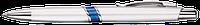 Ручка пластиковая ARIA Silver. Серебристая с синей полосой
