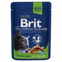 Brit Premium Cat pouch 100 g, курица  - корм для взрослых стерелизованных кошек и кастрированных котов