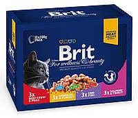 Brit Premium Cat pouch 1200 g семейная тарелка ассорти 4 вкуса - консервированный корм для кошек