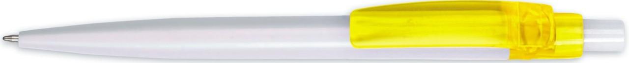 Ручка пластиковая BEST белая с жёлтым клипом, от 100 шт