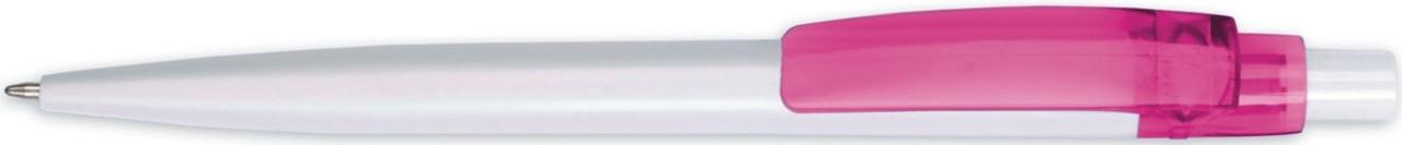 Ручка пластиковая BEST белая с розовым клипом, от 100 шт