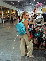 Бирюзовый джинсовый рюкзак городского типа, фото 1