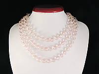 Бусы из хрусталя 1,2м, розовые 10мм