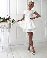 Платье в цветы с двойной шифоновой юбкой