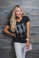Женская футболка в принт кошечки