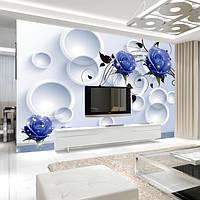 """Современные 3D фотообои """"Синие розы с белыми кругами"""""""