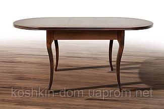 Стол обеденный Твист Ультра орех раскладной массив клена 126(+34)*81 см