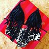 Женский модный черный купальник с бахрамой