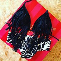 Женский модный черный купальник с бахрамой, фото 1