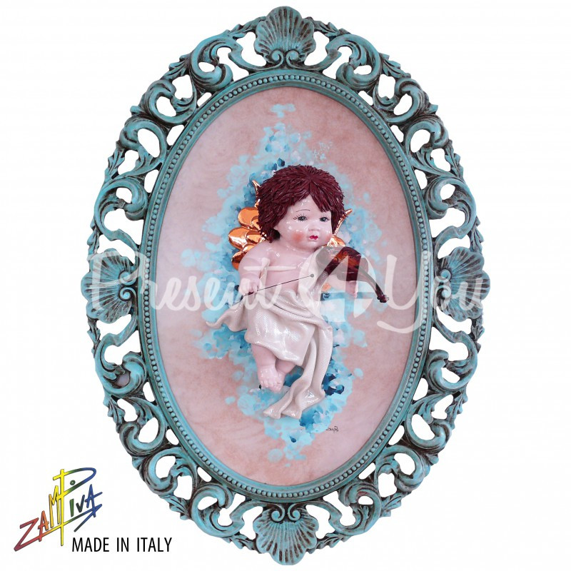 Картина коллекционная фарфоровая  Италия «Амур» Zampiva, 78х57 см.
