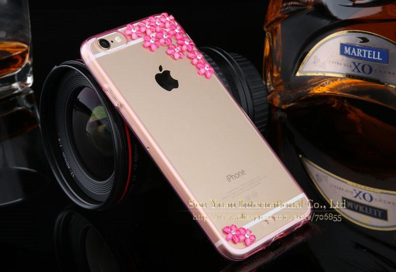 Чехол накладка для iPhone 5/5S Sakura Flowers Crystal Rhinestone Bling Pink , Винница