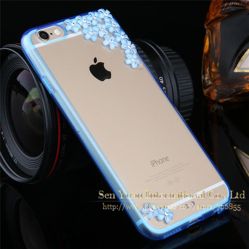 Чехол накладка для iPhone 5/5S Sakura Flowers Crystal Rhinestone Bling Blue , Винница