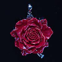 [55/50 мм.] Кулон подвеска Роза Большая  Полимерная Глина Красная