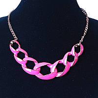 Ожерелье Розовая Цепь литая эмаль