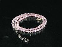 Бусы из хрусталя 48см, розовые с отливом 4мм, фото 1