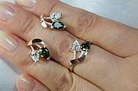 Гарнитур из серебра со вставками золота 375* и оливковыми фианитами