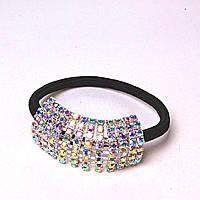 Резинка для волос черная Страза радуга светлая сталь