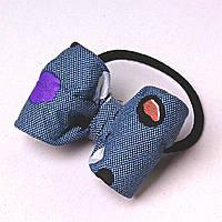 Резинка для волос резинка бант синий боке