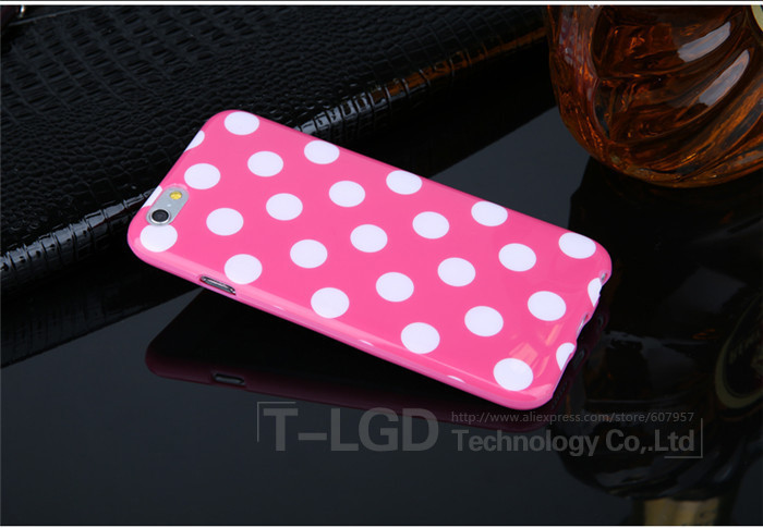 Чехол-накладка Polka Dot Silicon Soft TPU Cover Cases Dark Pink для iPhone 6/6s, Винница