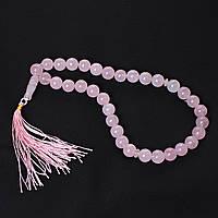 Четки Розовый Кварц, 33 бусины 12мм, длина 40см