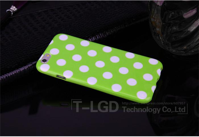 Чехол-накладка Polka Dot Silicon Soft TPU Cover Cases Green для iPhone 6/6s, Винница