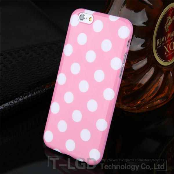 Чехол-накладка Polka Dot Silicon Soft TPU Cover Cases Pink для iPhone 6/6s, Винница
