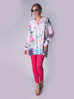 Летняя удлиненная рубашка IVKO Woman из нежной вискозы с акварельными цветами
