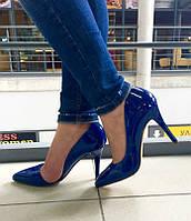 Туфли лодочки копия Zara синий электрик