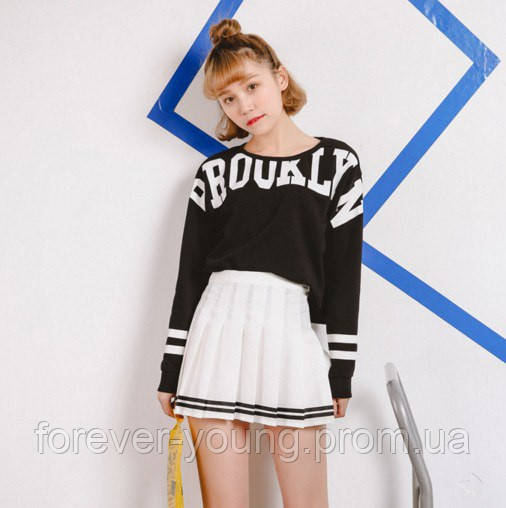 b6acd19e733 Теннисная юбка белая с черными полосками - Интернет-магазин