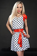 Стильное модное летнее шифоновое платье в горошек с поясом