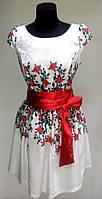 Белое нарядное платье под пояс, розы, размеры 36, 38, 40, Турция 40
