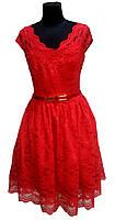 Платье нарядное вечернее красное кружевное
