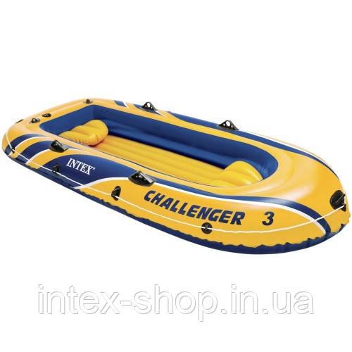 Надувний човен Challenger 3 Intex 68369 295x137x43 см, Тримісна, Intex