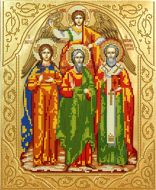 Схема для вишивки бісером POINT ART Ікона Свята трійця, розмір 23х28 см