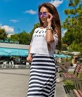 Модное летнее трикотажное платье-сарафан с топом