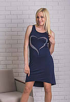 Платье  летнее со стразами темно-синее