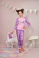 """Пижама для девочки длинный рукав """"Принцеса"""" р.122-140, 100% хлопок, ELLEN"""