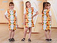 Детское платье туника с принтом апельсинов