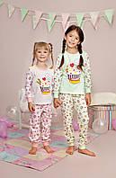 """Пижама для девочки длинный рукав """"Кексик"""" р.122-140, 100% хлопок, ELLEN"""