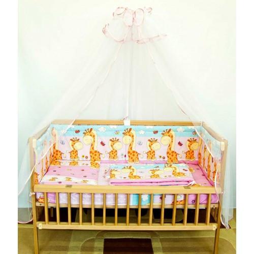 Детское постельное белье и защита бортик в детскую кроватку Жираф розовый