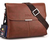 Мужская сумка POLO горизонтального исполнения. Коричневая