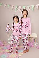 """Пижама для девочки длинный рукав """"Зебра"""" р.134, 100% хлопок, ELLEN"""