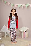 """Пижама для девочки длинный рукав """"Зайка"""" р.116, 100% хлопок, ELLEN"""