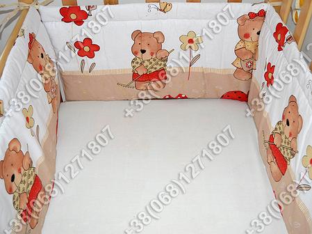 Бортики в детскую кроватку защита бампер Садовник бежевый, фото 2